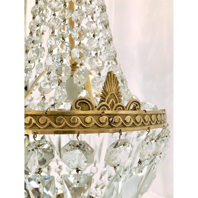 Antique French Crystal and Bronze Fixture, Circa 1920-1930.