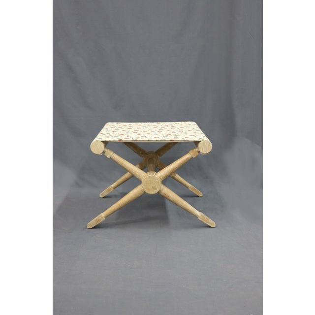Cross-Legged Camp stool with a indigo and red flower linen seat. Classical and traditional in its design and look.