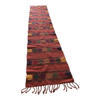 Boho Embroidered Table Runner With Fringe