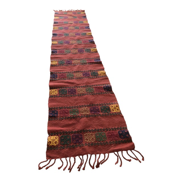 Boho Embroidered Table Runner With Fringe For Sale