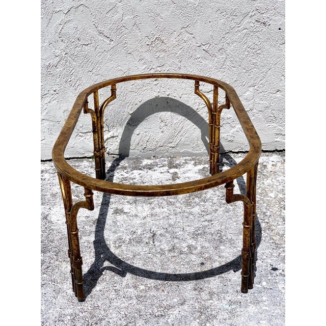 Transparent Midcentury Italian Gilt Metal Faux- Bamboo Glass Top Coffee Table For Sale - Image 8 of 10