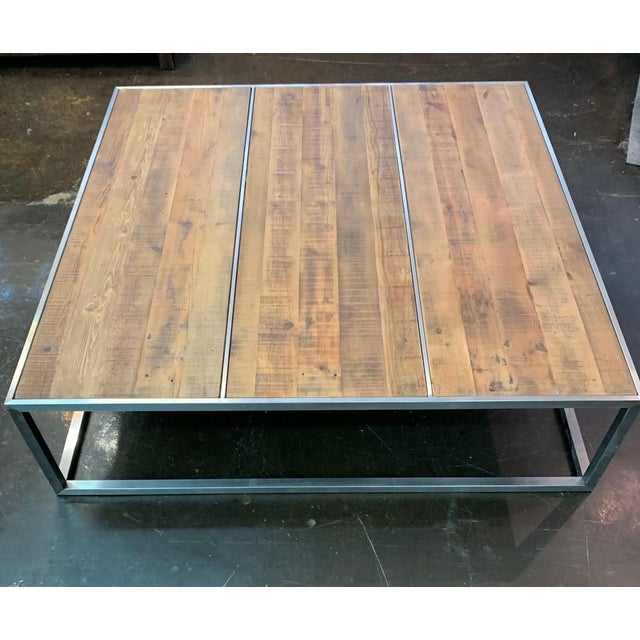 CB2 Contemporary Distressed Wood & Chrome Extra Large Square Coffee Table For Sale - Image 4 of 4