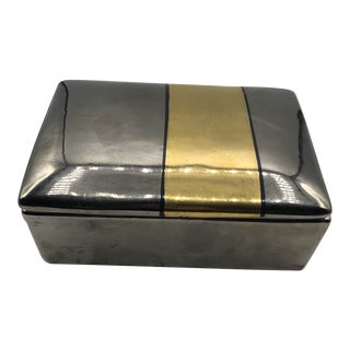 1970s Contemporary Raymond Silver and Gold Painted Covered Box For Sale