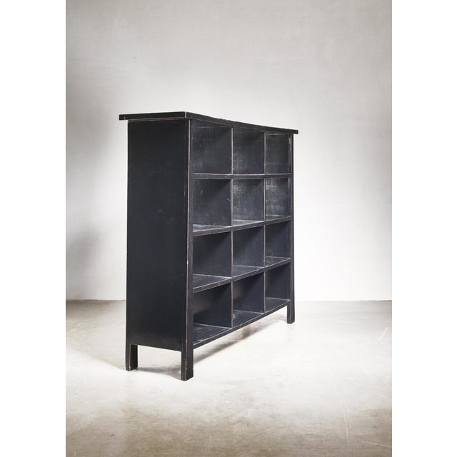Modern Black Lacquered Wood Bookcase, Dutch, 1930s For Sale - Image 3 of 7