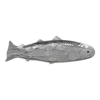 1980s Vintage Arthur Court Aluminum Salmon Fish-Form Platter For Sale