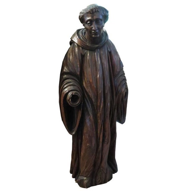 French Carved Walnut Ecclesiastical Figure For Sale In Houston - Image 6 of 6