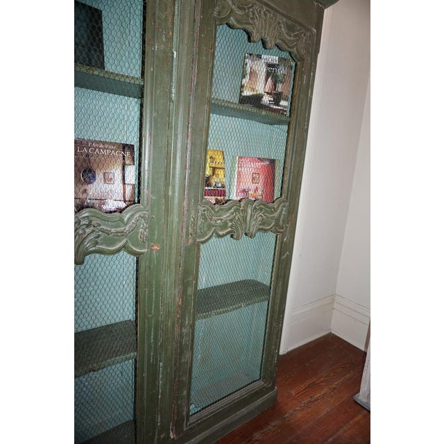 19th Century French Chicken Wire Painted Bookcase For Sale - Image 11 of 12