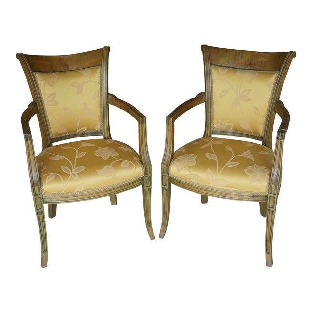 Hand-Carved European Accent Chairs - a Pair - Image 1 of 9