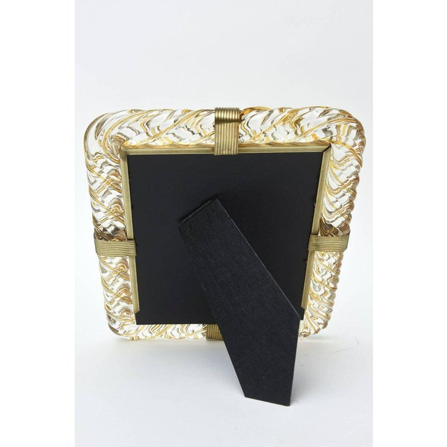 Italian Murano Vintage Glass and Brass Picture Frame For Sale In Miami - Image 6 of 11