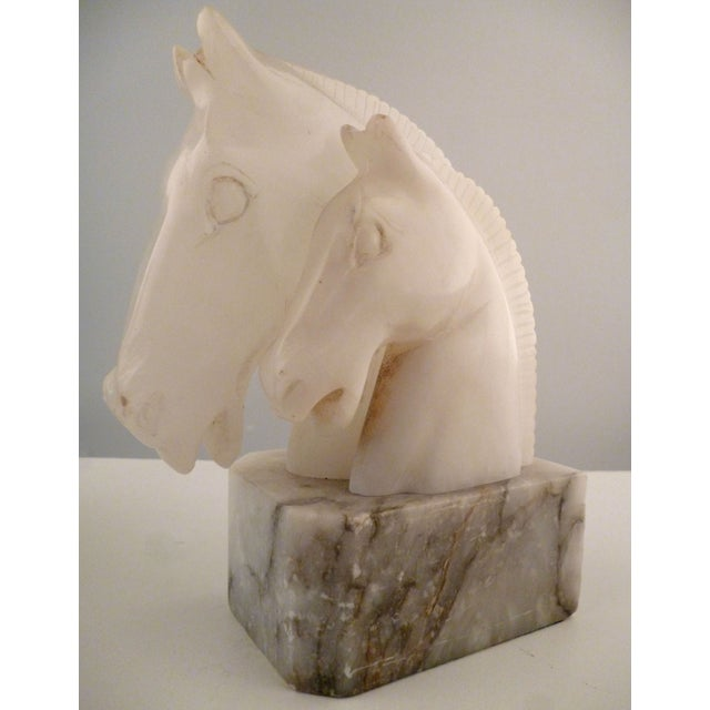 Alabaster Horse Bookends on Marble Bases - Pair - Image 11 of 11