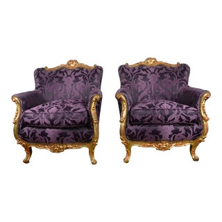 Rococo Style Club Chairs - a Pair For Sale