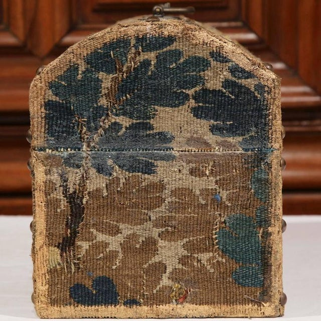 Textile Bombe Wood Trunk Covered With 18th Century Aubusson Tapestry and Signed J. Lamy For Sale - Image 7 of 10