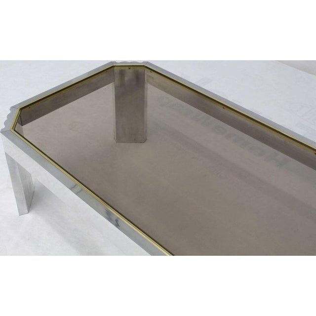 Aluminum Brass Glass Rectangular Coffee Table For Sale In New York - Image 6 of 7