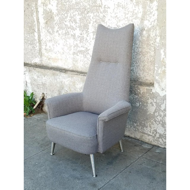 Mid Century Grey Tall Back Lounge Chair - Image 3 of 5