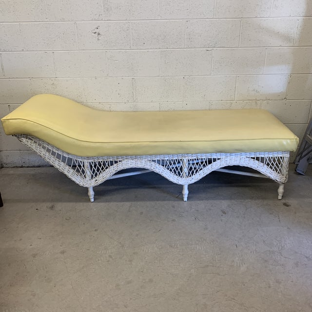 Large Vintage Wicker Chaise Lounge For Sale - Image 13 of 13