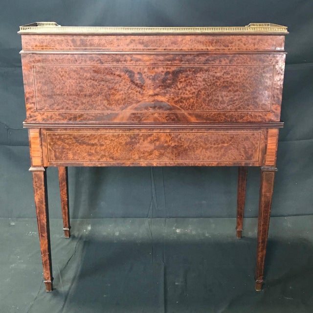 Wood Antique 19th Century Louis XVI Cylinder Bureau Rolltop Desk For Sale - Image 7 of 8