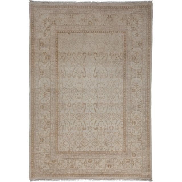 """Oushak Hand Knotted Area Rug - 5'1"""" X 7'4"""" For Sale"""