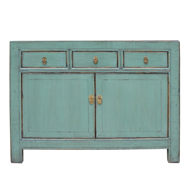 Distressed Rustic Teal Gray Credenza Sideboard Buffet Table Cabinet For Sale - Image 9 of 9