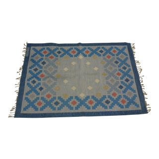 "Swedish Flat Weave Rug - 4'6"" X 6'9"" For Sale"