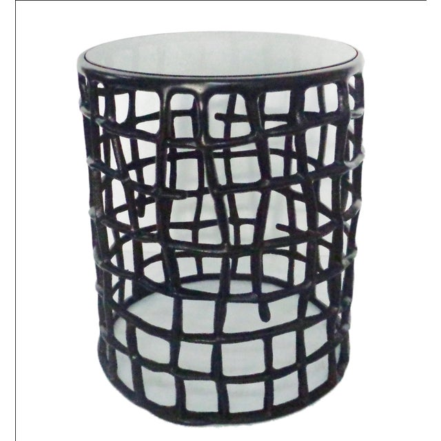 Round Metal Side Nesting Table & Glass Top - 2 - Image 2 of 5