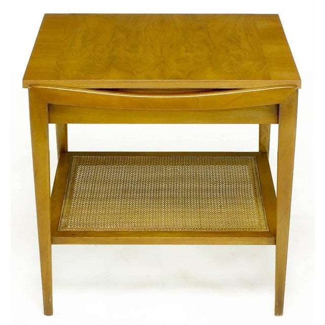 Pair Widdicomb Bleached Walnut & Cane Single Drawer End Tables - Image 4 of 10