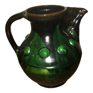 Artisan Drip Glaze Stoneware Pitcher 1970's Brutalist For Sale