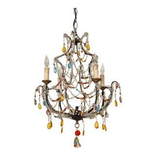 1950s Beaded Glass 4 Light Chandelier For Sale