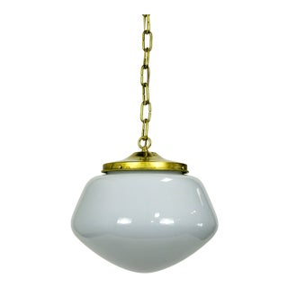 1970's Schoolhouse Pendant Light For Sale