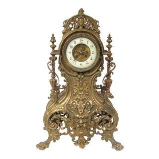 1920s French Gothic Bronze Clock For Sale