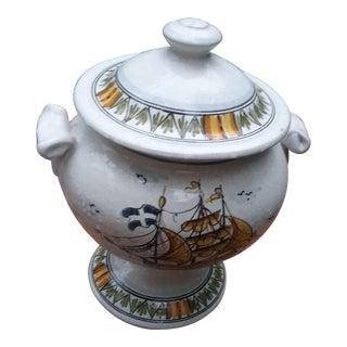 1940s Americana Hand Painted Porcelain Soup Toureen