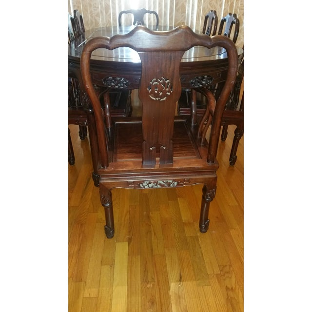 Vintage Chinese Rosewood Carved Dining Set For Sale - Image 10 of 13