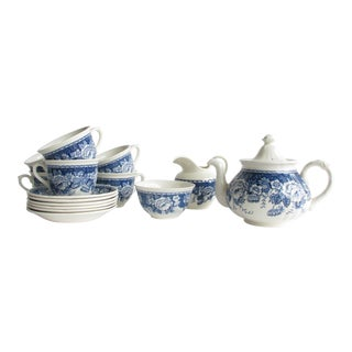 Vintage Mason's England Crabtree & Evelyn Blue & White Tea Set - 15 Pieces For Sale
