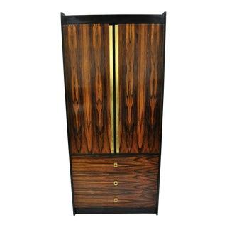 Mid Century Modern Rosewood Black Laminate John Stuart Style Armoire For Sale