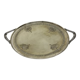 Vintage Silver Plate Footed Charger For Sale