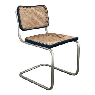 1970s Vintage Marcel Breuer Cesca Cane Chrome Black Bentwood Dining Chair For Sale