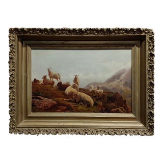 Robert Watson Highland Sheep & Goats in Scottish Landscape Painting For Sale