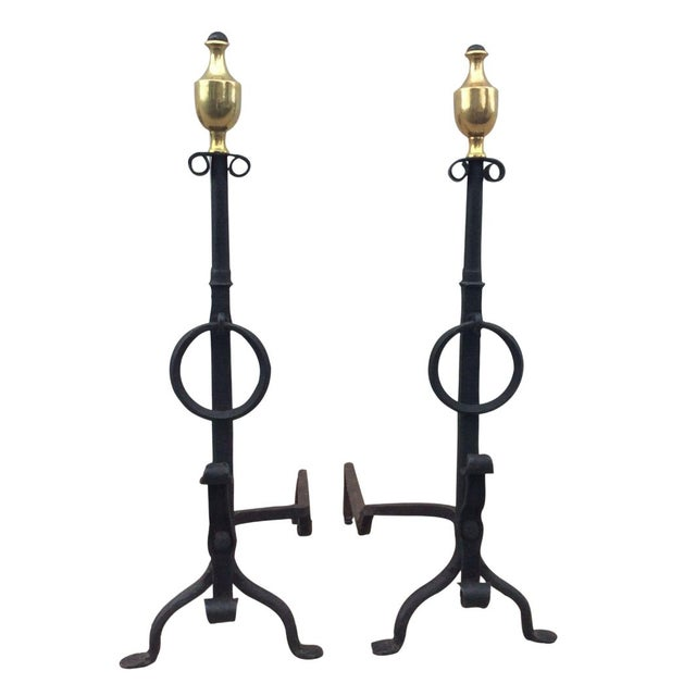 1800s Brass & Iron Andirons - A Pair - Image 1 of 8