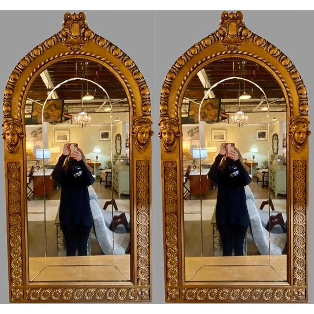 Pair of Neoclassical Wall or Console Mirrors, Giltwood Carved For Sale - Image 9 of 13