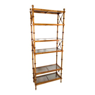 Mid Century Cane & Faux Bamboo Etagere / Shelf Unit For Sale