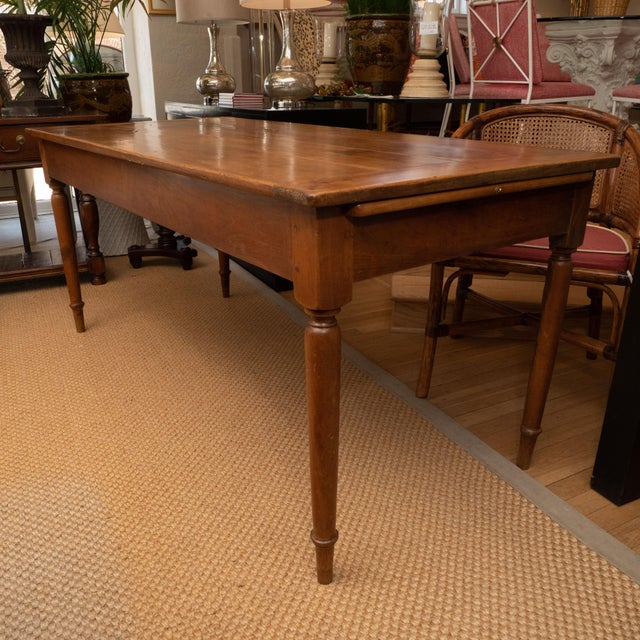 French Provincial Cherrywood Farm Table For Sale - Image 10 of 11