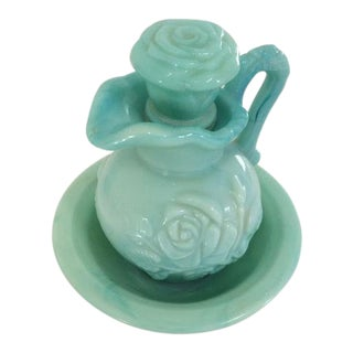 1970's Cottage Avon Jadeite Pitcher and Bowl For Sale