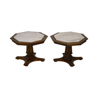 Weiman Hollywood Regency Vintage Pair Octagonal Marble Top Low Pedestal Side Tables For Sale