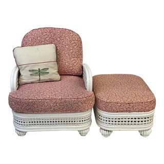 Vintage Braxton Culler Wicker Arm Chair & Ottoman For Sale