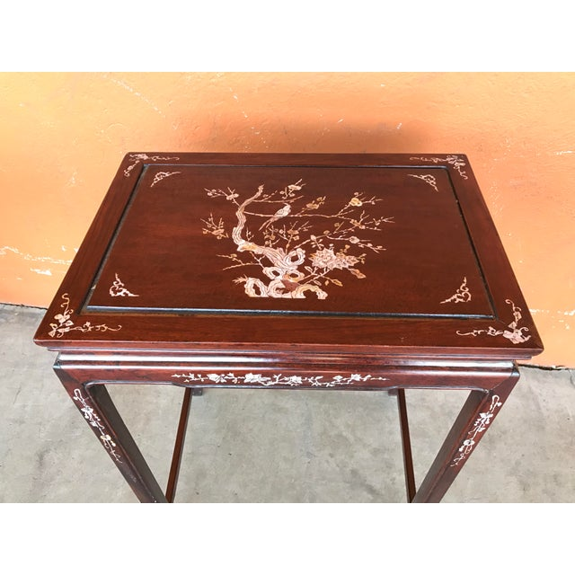 Chinese Rosewood Inlaid Nesting Tables Set Of 4 Chairish