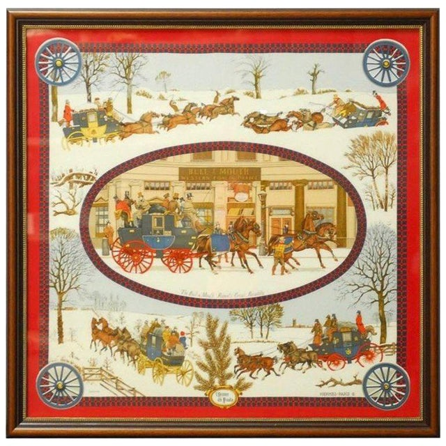 "Framed Hermes Scarf ""Bull and Mouth Regent's Circus Piccadilly"" For Sale"