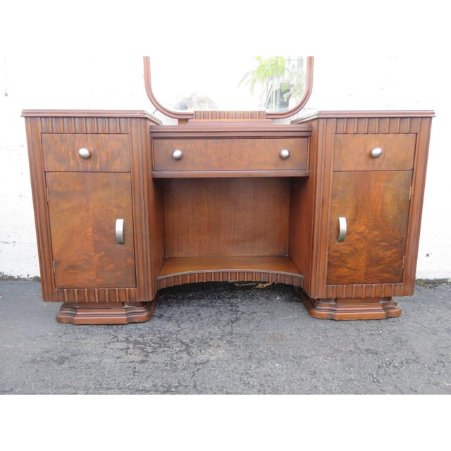 1940s Art Deco Walnut Set of Vanity Writing Desk With Mirror and Chair For Sale - Image 5 of 11
