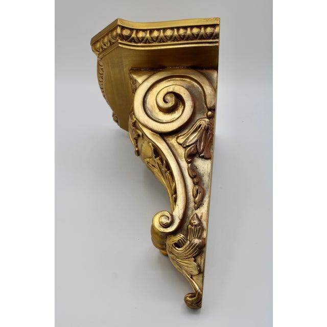 Large Art Nouveau Golden Acanthus Leaf Wall Shelves - a Pair For Sale - Image 12 of 13