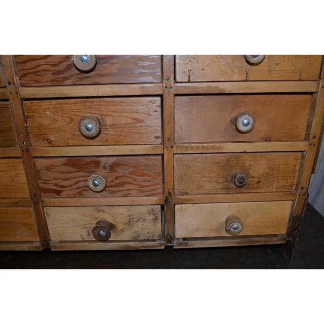 Vintage Handcrafted 15-Drawer Pine Storage Cabinet - Image 9 of 10