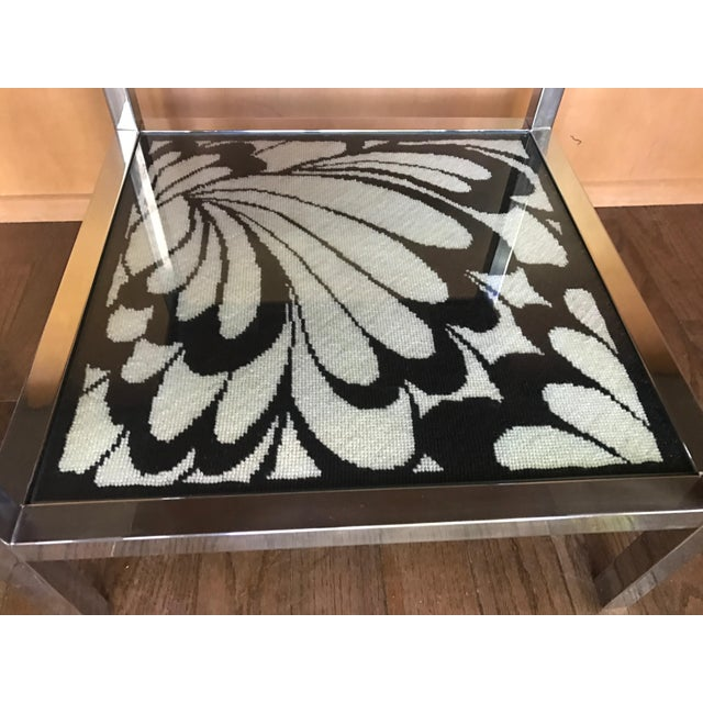 Mastercraft Chrome and Custom Pucci Style Needlepoint 1960's Side Table - Image 8 of 9