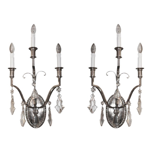 French Crystal Wall Lights - A Pair For Sale